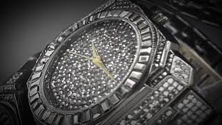 Fully Bling Metal , Watch with CZ on bezel, Japan Movement, Japanese Battery