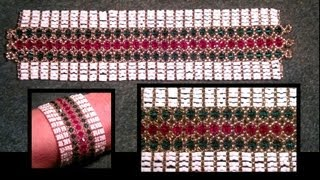 "Beading4perfectionists : ""Misletoe in the Snow"" Christmas bracelet beading tutorial"