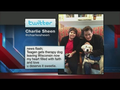 Charlie Sheen meets girl in Wisconsin accident, dog he gave her