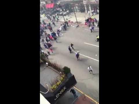 Boston marathon Second Bombing sound caught on film