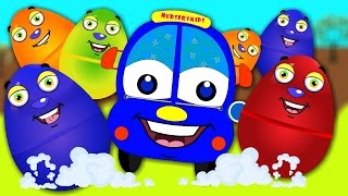 Surprise Eggs Bus Family For Kids  ☜♥☞  Wheels On The Bus Go Round And Round ☜♥☞ Nusery Kids Rhymes