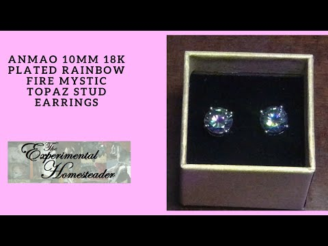 Anmao 10mm 18K Plated Rainbow Fire Mystic Topaz Stud Earrings