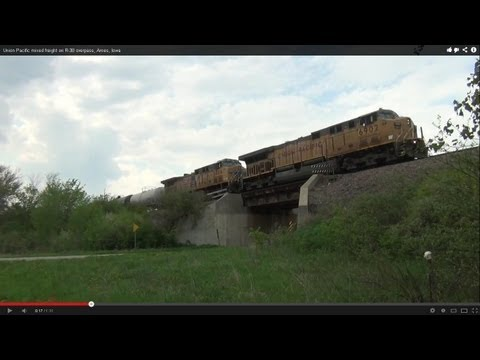 Union Pacific mixed freight on R-38 overpass, Ames, Iowa