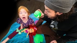 Adley Saves The Little Mermaid from the Game Master Crocodile!!  (POND MONSTER)