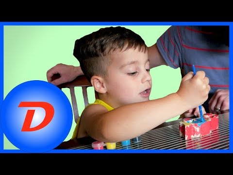 Car Painting with Dad | Melissa & Doug Decorate-Your-Own Wooden Race Car Craft Kit