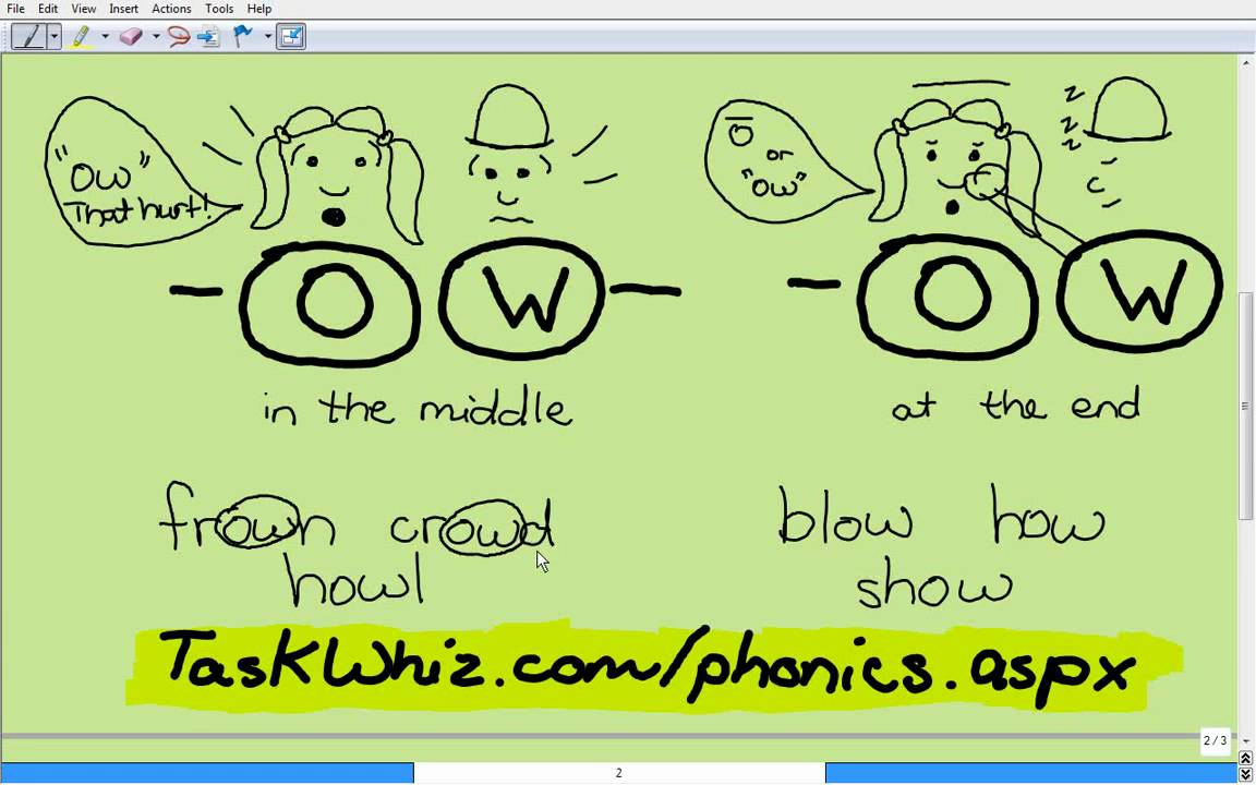 ow phonics sound lesson story