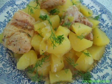 Готовим вместе:(Запечённый картофель с куриным филе)!