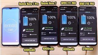 Redmi Note 7 Pro vs Redmi Note 7 vs OPPO F11 Pro Vs Vivo V15 Pro Battery Drain Test