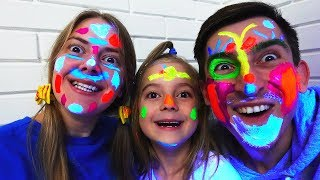 Learn Colors with Neon Paint Face Finger Family Song