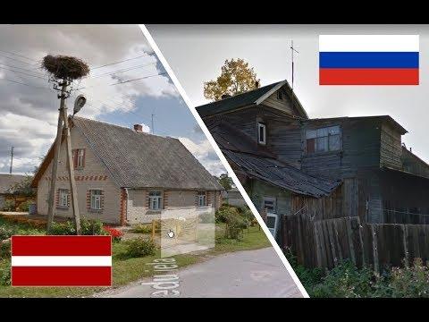 Россия и Латвия.  Сравнение глубинок. Медное - Kārsava, Malnava. Latvija - Krievija. Latvia - Russia