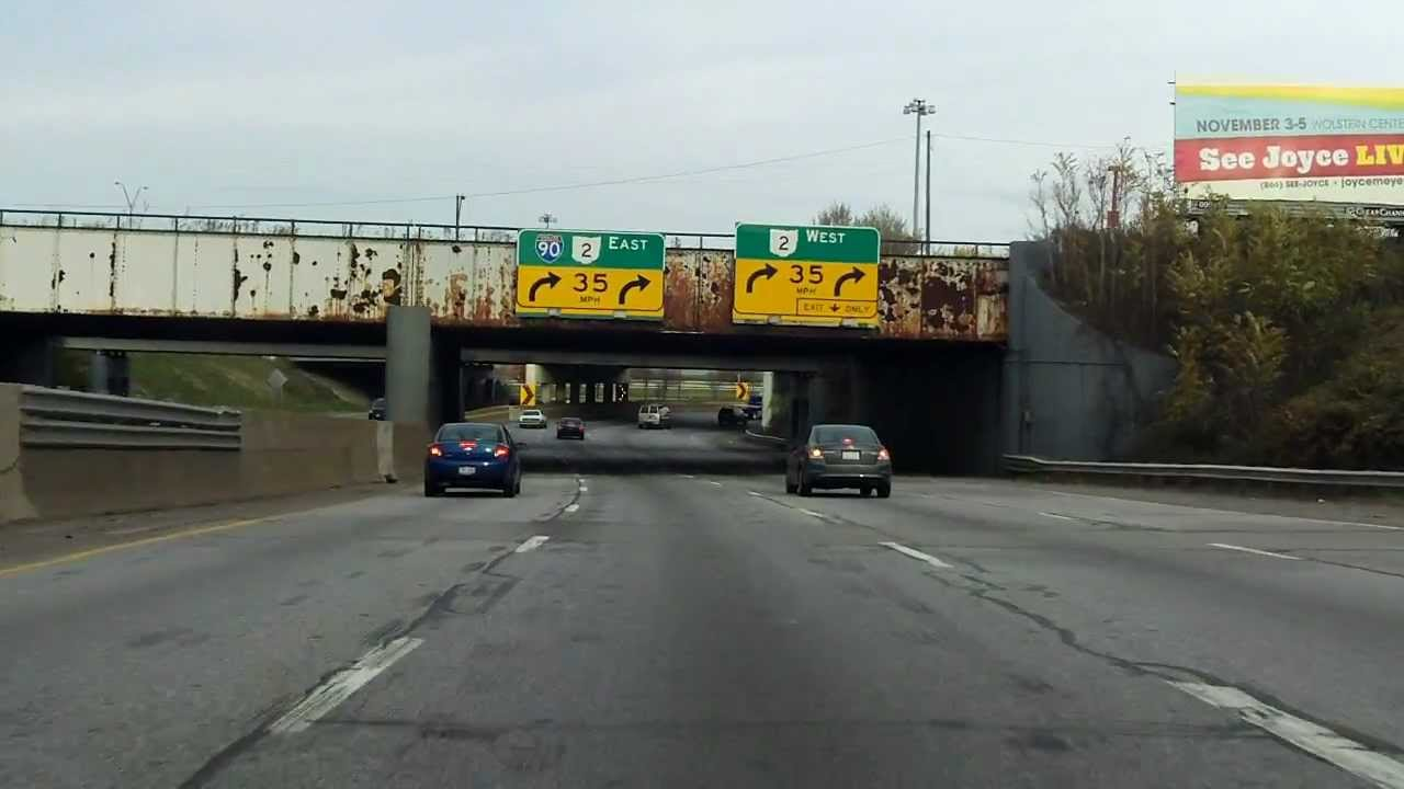 Innerbelt Freeway (Interstate 90 Exits 170 to 174) eastbound - YouTube