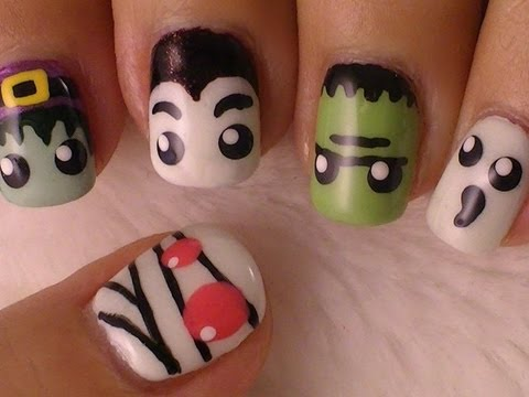 Halloween Monsters Nail Art *Mummies, Witches, Frankenstein, Dracula and Ghosts*