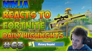 Ninja Reacts To Twitch Moments' Fortnite Daily Highlights #63!