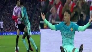 Pena de Neymar 05/01/2017 Athletic Bilbao vs Barcelona 2-0 Copa del rey