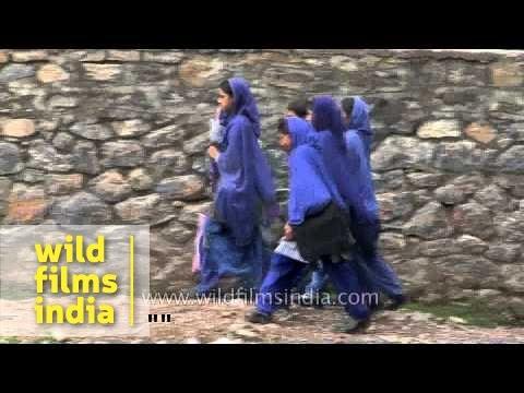 Girls head to school in Srinagar, Kashmir, India
