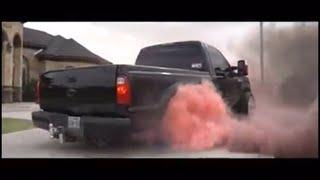 HUGE BURN OUT FOR GENDER REVEAL WITH F250 SHORT BED SINGLE CAB DIESEL !!