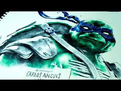 Drawing Leonardo of TMNT Dibujando a Leonardo de las Tortugas Ninja