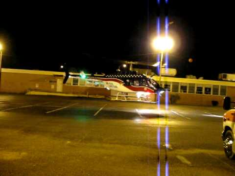 Air Evac 7 Lexington, TN Hospital night takeoff 4-8-2010