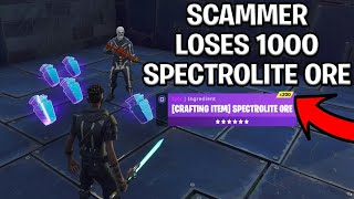 Scammer With 1000 Spectrolite Ore Scams Himself! (Scammer Get Scammed) Fortnite Save The World