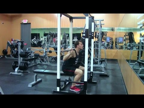 Barbell Box Squats - HASfit Squat Exercise Demonstration - Proper Box Squat Form - Bar Box Squat