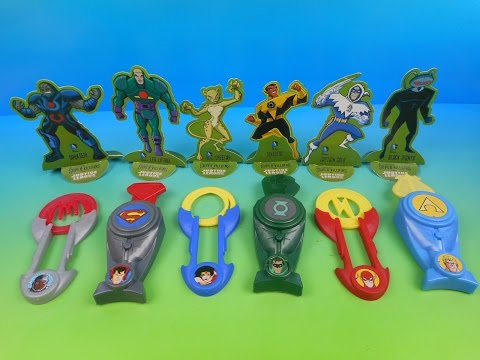 2014 DC COMICS SUPER VILLAINS vs JUSTICE LEAGUE SET OF 6 SONIC DRIVE IN KID'S TOY'S VIDEO REVIEW