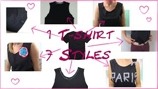 DIY Fashion - 1 T-Shirt - 7 Styles - Mode Tipps - Crop Top/ Tank Top/ 7 Ways To Upcycle T-shirts