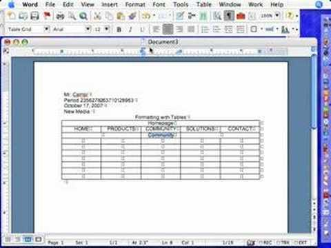 Microsoft Word: Tables