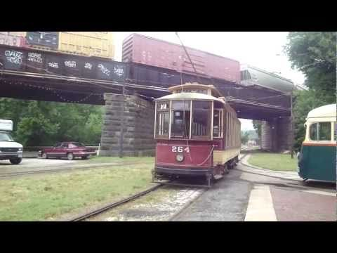 Old Streetcars (trams) 1890s-1940s era... running at Museum in Baltimore