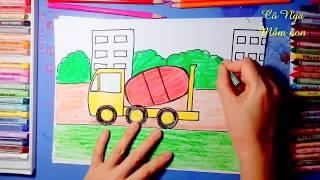 Vẽ và tô màu xe trộn bê tông - Drawing and Coloring concrete mixer truck -