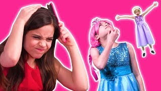 STUCK TO THE CEILING! Malice's GIANT Glue Stick Pranks - Princesses In Real Life | Kiddyzuzaa