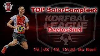 TOP/SolarCompleet 1 tegen DeetosSnel 1, zaterdag 16 februari 2019