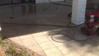 How to Pressure wash clean concrete Patio