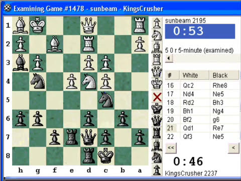 Chess World.net: Blitz #84 vs. sunbeam (2195) - English Opening - Pawn Sacrifice for dislocation!