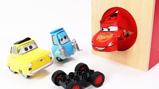 Cars Guido and Luigi Block Building - McQueen into the Box Assembly Video for Kids