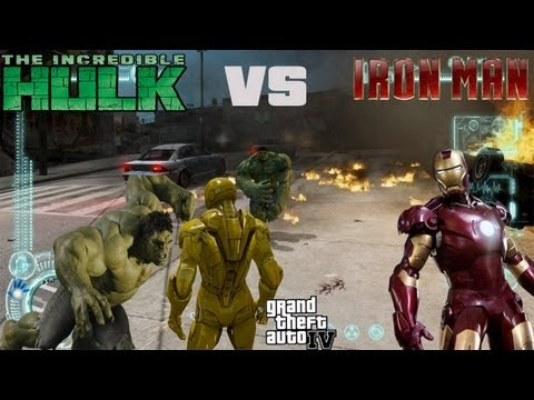 GTA IV Hulk Mod + Iron Man Mod - The Epic Battle Hulk vs Iron Man