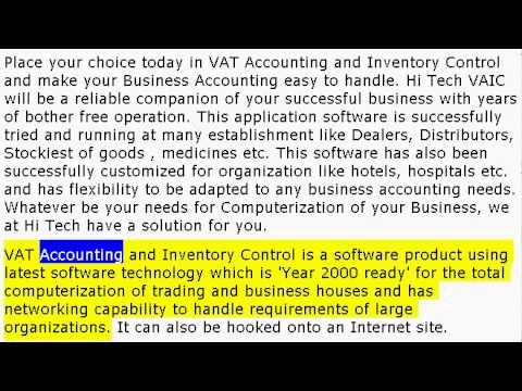 VAT Accounting and Inventory Control, Billing with Bar Code, CRM, Payroll