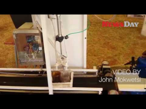 Chinhoyi University of Technology students showcase the flexible bottle filling machine