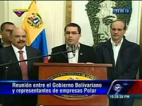 Jorge Arreaza informa de acuerdos tras reunión con Lorenzo Mendoza este lunes