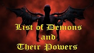 List of Demons and Their Powers