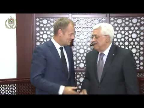 President Abbas receives the President of the European Council Donald Tusk and his accompanying dele