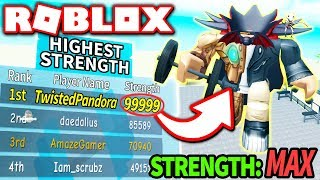 I AM THE STRONGEST PLAYER in WEIGHT LIFTING SIMULATOR 3!! *#1 on Leaderboard!* (Roblox)