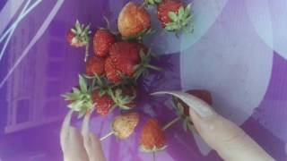 Long nails killing strawberries, digging my sharp long nails into