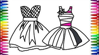 Beautiful Dresses Coloring Pages   Drawing Pages and Learn Colors with Dresses For Kids