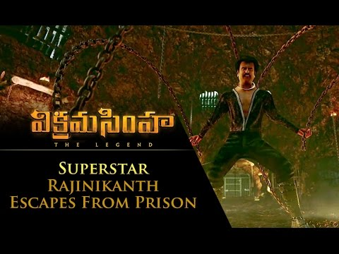 Superstar Rajinikanth Escapes From Prison - Vikramasimha - The Legend