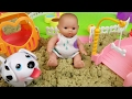 Baby doll and Pet dog Sand play ground toys play