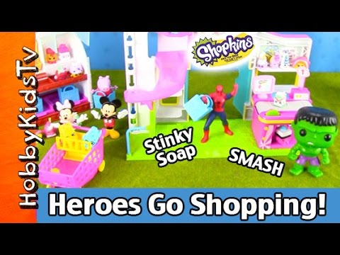 Shopkins Small Mart: Hulk, Spiderman Shopping! Bloopers, Mickey Mouse HobbyKidsTV #HKTV
