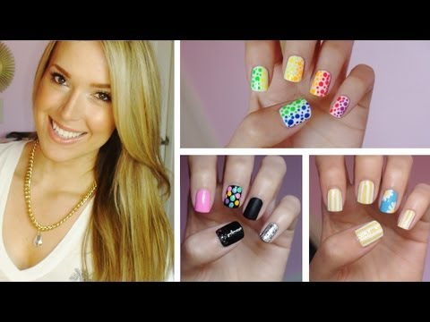 ✹summer Nail Art!!! Three Easy Designs! ✹ video