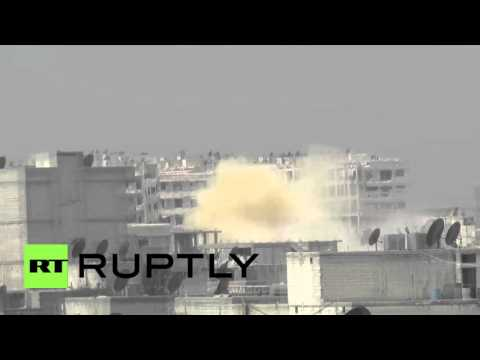 Syria: Yellow smoke rises after chemical gas attack in Aleppo's Kurdish district