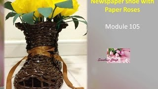 Newspaper shoe with Paper Roses  - tutorial