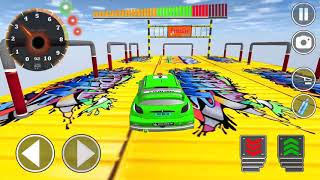 Impossible Mega Ramp Sports Car Stunt Drive 2019 | Green Car - Android Gameplay
